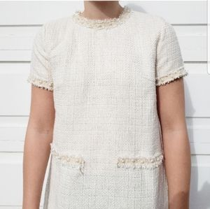 Shein White Tweed Dress w/ Gold Detail